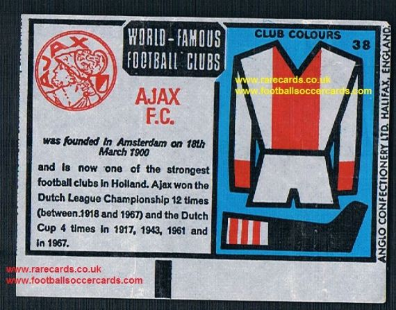 1970 Anglo Gum waxy paper insert World Famous Football Clubs Ajax Amsterdam